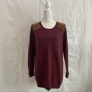 Gianni Bini Brick Red and Gold Studded Sweater